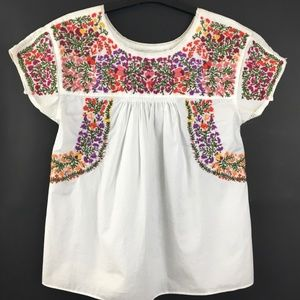 Embroidered Springtime Top in White, XXS, Like New